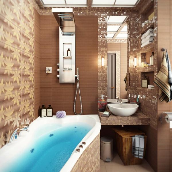 carrelage mosaique marron de salle de bains - Carrelage Salle De Bain Mosaique