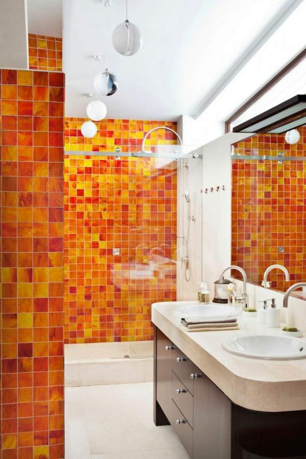 Emejing Salle De Bain Orange Et Noir Pictures - Awesome Interior ...