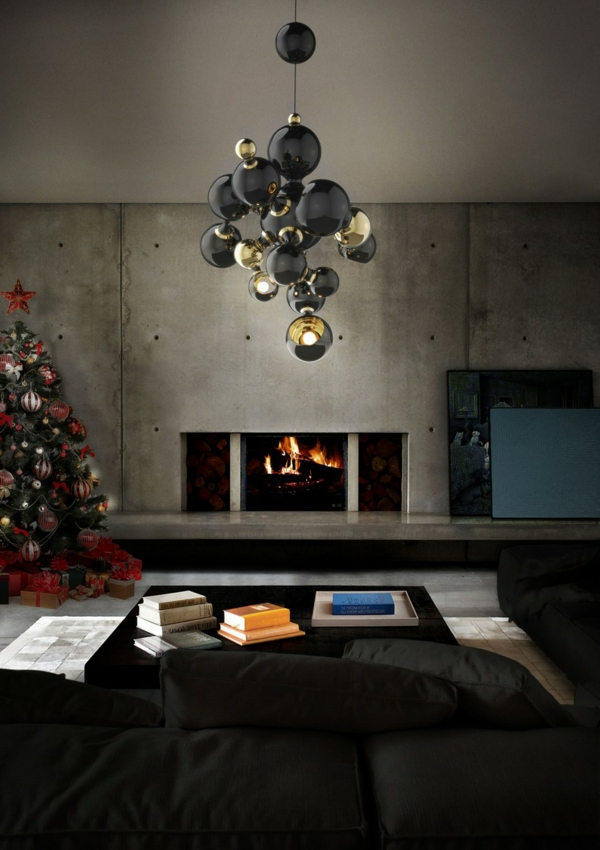cheminée-lustre-originale-style-baroque