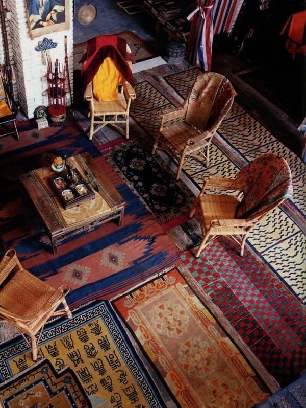 chaises-chambre-tapis-coloré