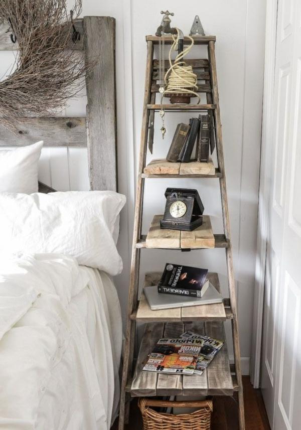 chambre-à-coucher-étagère-échelle-décoration