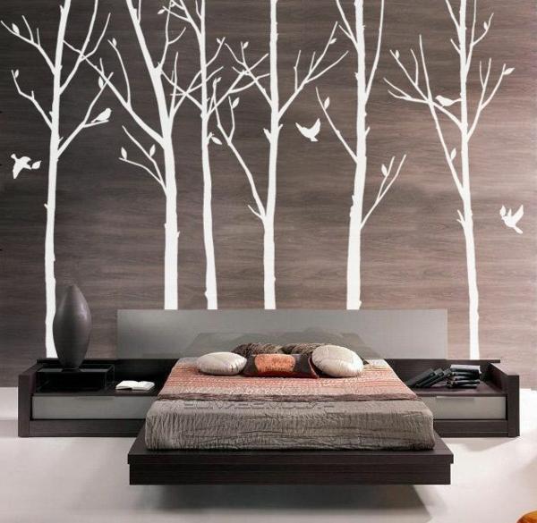 Chambre à coucher sticker de mur arbres oiseaux