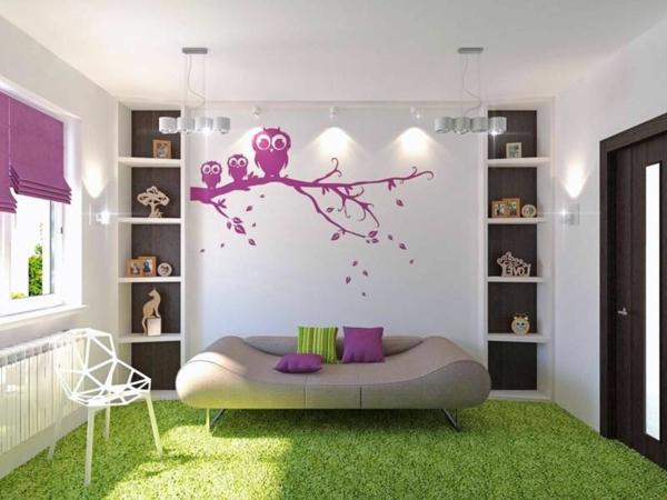 chambre-ambiance-vert-et-violet-hibou-sur-un-arbre-jolie-enfant-ado-lit