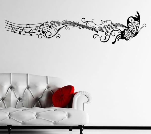 chambre-blanche-sofa-coussin-rouge-papillon-sticker-de-mur