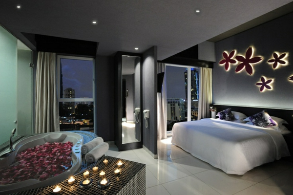 Chambre romantique avec jacuzzi h tels avec lit rond paris ou autour de sexyhotelsparis - Belle chambre romantique ...
