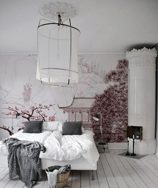 chambre-originale-fleures-lustre-ambiance-asiatique