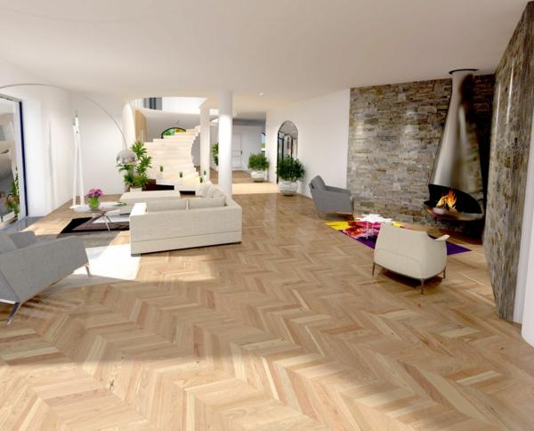 chambre-salle-de-séjour-luxe-en-blanche-blanc-parquet-pierres-sur-le-mur