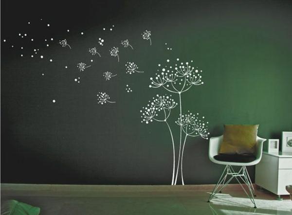 chambre-vert-jolie-fleur-sticker-mural-séjour