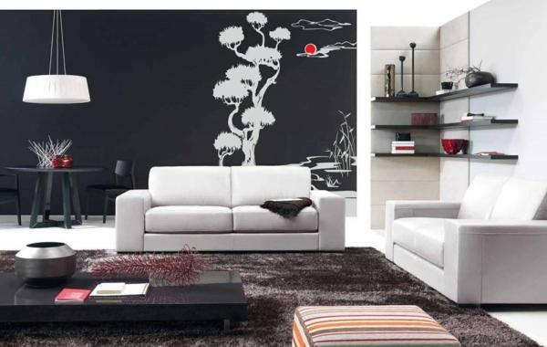 chique-chambre-séjour-blanc-et-noir-arbre-nature-à-la-maison