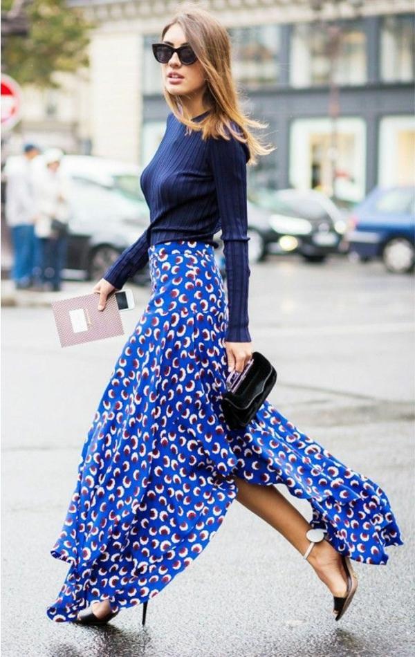 comment-porter-une-jupe-longue-bleu
