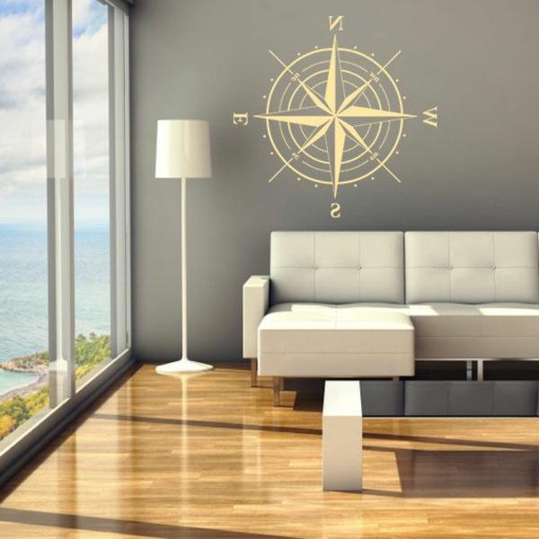 compas-salon-simple-et-stylé-sofa-blanche-lumineuse-chambre-sticker-boussol