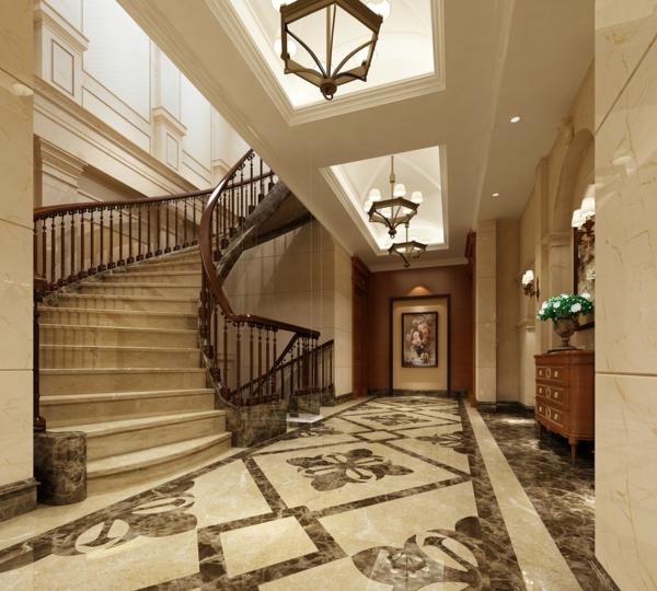 couloir-escabeau-luxe-lustres-marbre-Les-escaliers-colimaçons