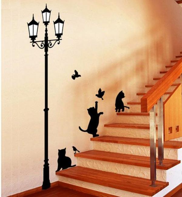 couloir-avec-des-chats-chatons-lampe-de-rue-sticker