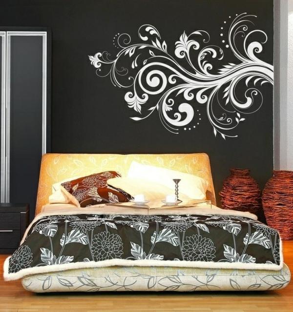 décoration-de-la-mur-chambre-à-coucher-couvre-lit-coussins-sticker-motifs-floraux