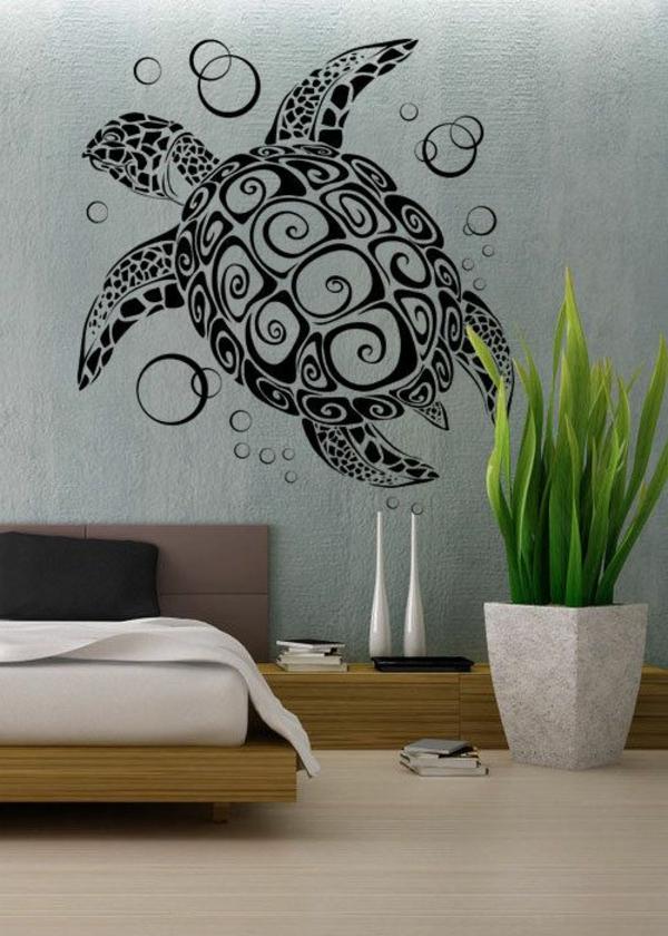 décoration-de-la-mur-chambre-à-coucher-couvre-lit-coussins-stickers-la-mer-tortue