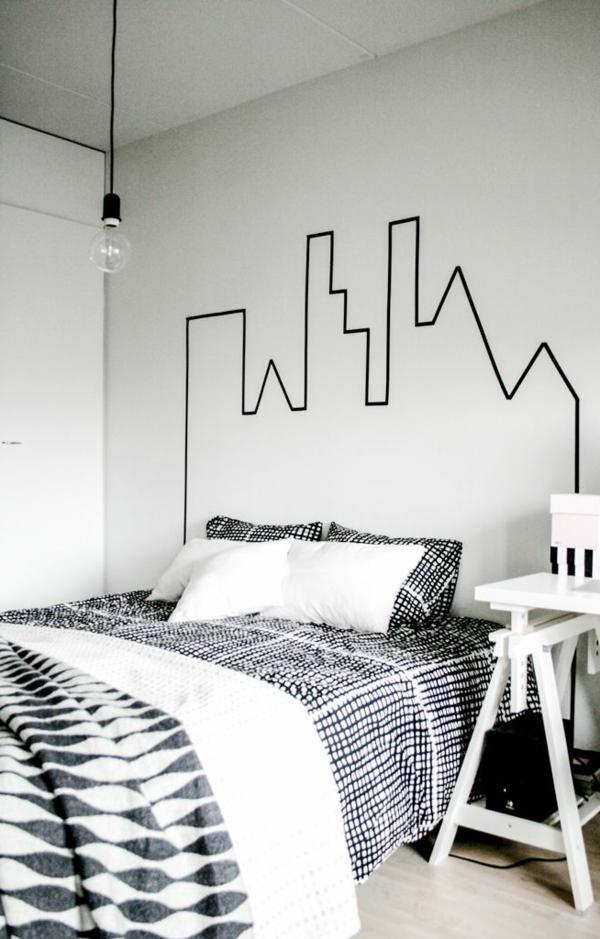 décoration-de-la-mur-chambre-à-coucher-couvre-lit-coussins-stickers-ville-silhouette
