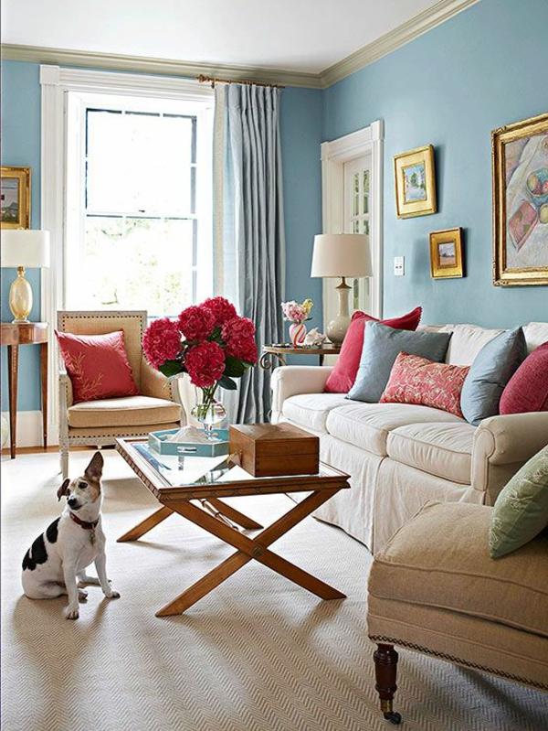 décoration-de-salle-de-séjour-chien-fleurs