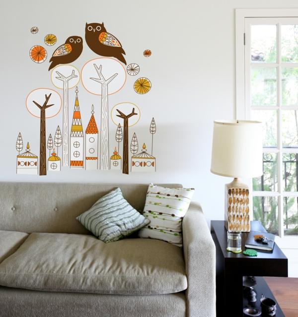 résidence-hiboux-arbres-mur