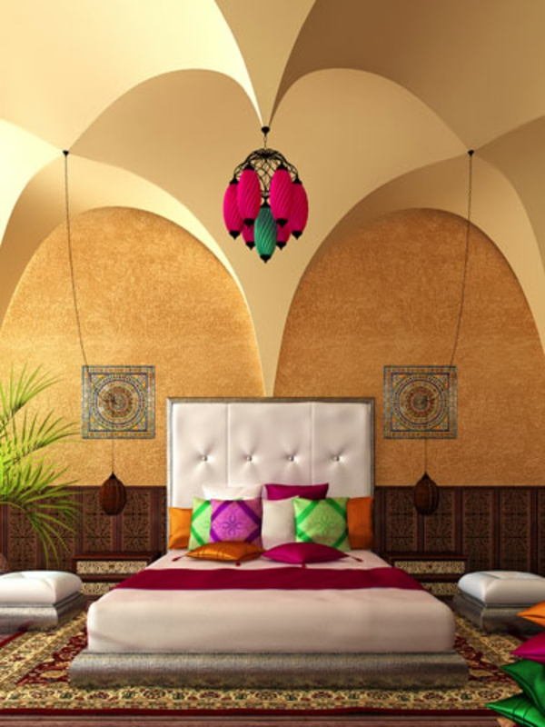 décoration-orientale-coussins-colorés-plafonnier-original