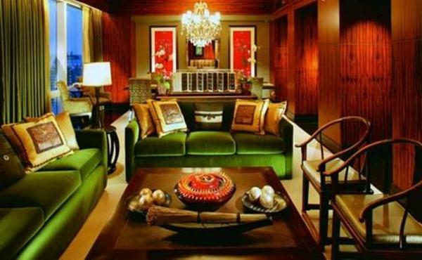 décoration-orientale-sofas-et-rideaux-verts