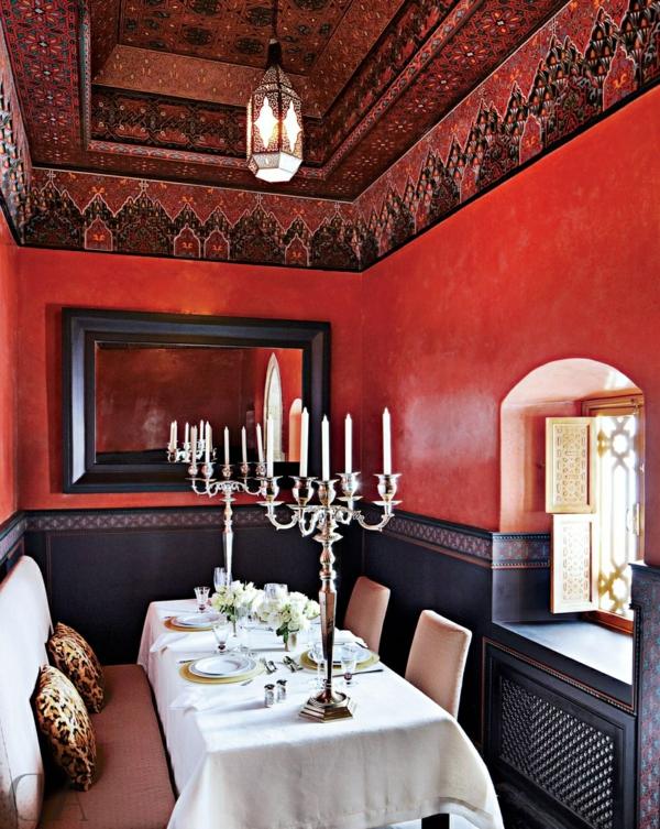 décoration-orientale-une-salle-à-manger-rouge