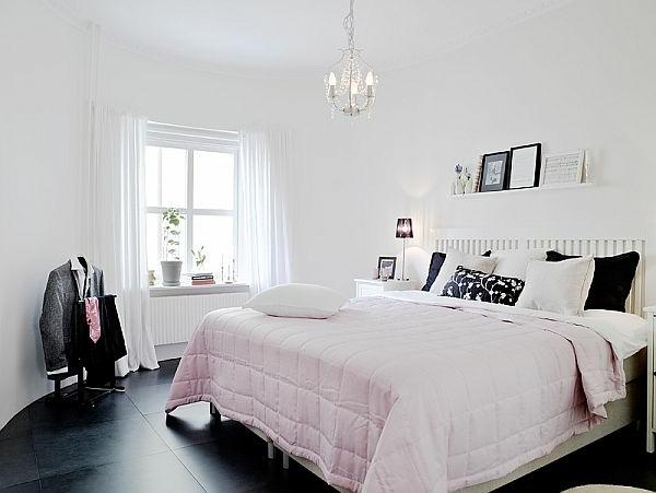 décoration-scandinave-chambre-à-coucher-en-rose-et-blanc