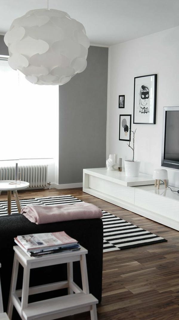 décoration-scandinave-plancher-en-bois-et-origami-lampe