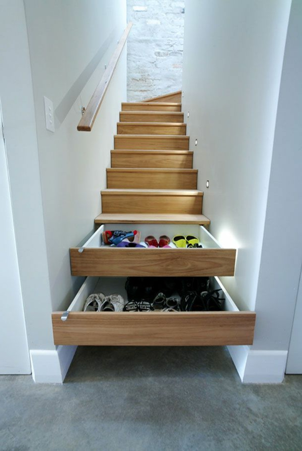 60 id es pour un am nagement petit espace for Escalier avec tiroirs de rangements