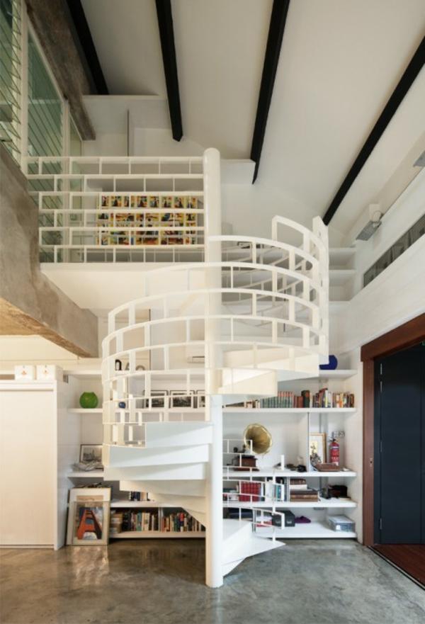 escalier-colimacon-blanche-beauté-chambre-design