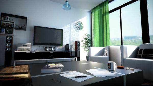 excelente-table-decorative-plante-blanc-et-noir-impressionante-dvd-et-audio-systeme