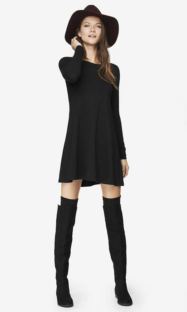 féminine-jolie-bottes-chapeau-robe-le-look-noir-monochrome