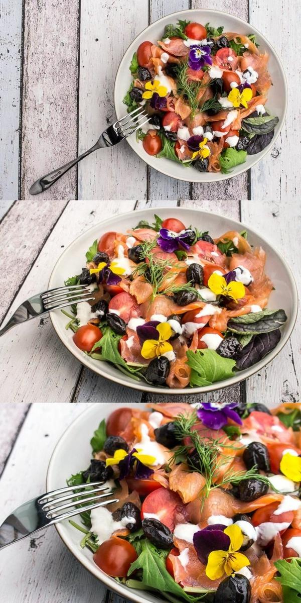 fleur-comestible-dans-la-salade-salmone-laitue