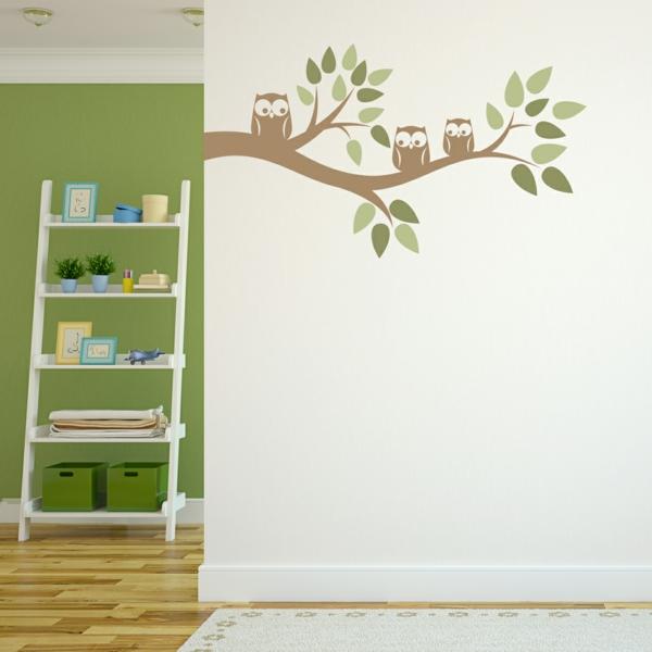 hiboux-sur-la-mur-stickers-chambre-adulte-chambre-verte