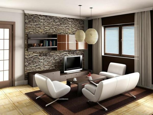 intérieur-idées-cool-salle-de-séjour-blanc-blanche-sofa-table-en-bois-mur-en-pierres