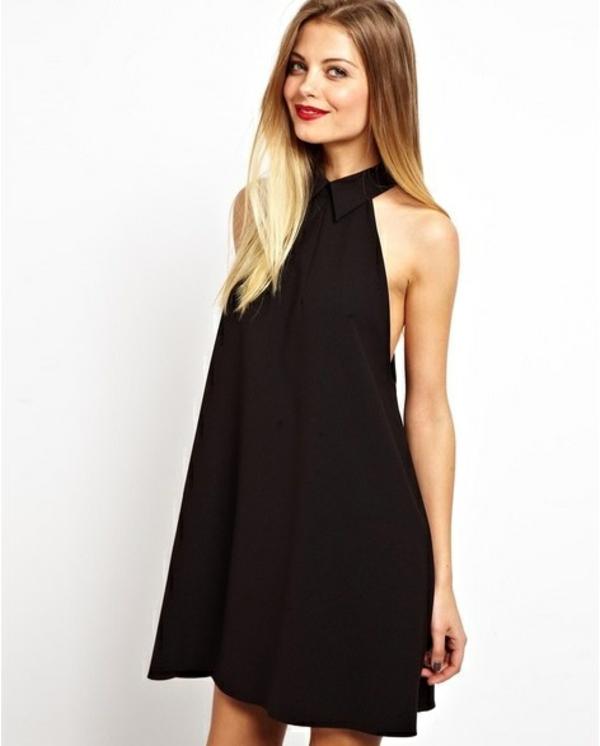 jolie-robe-noir-modèle-trapèze-elle-noir-cheveux-ombre