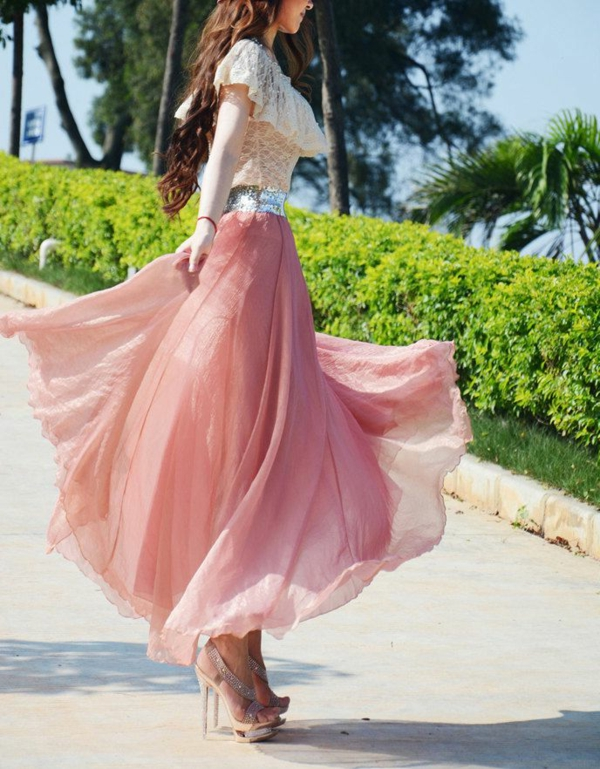 jupe-longue-été-rose