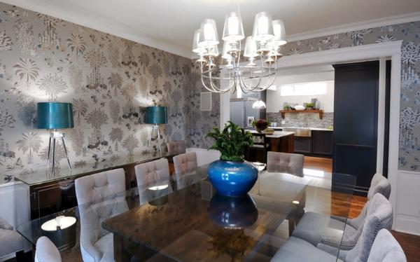 lampadaire-tripode-deux-lampes-trépieds-dans-une-salle-à-manger-luxueuse