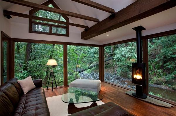 lampadaire-tripode-intérieur-zen-maison-dans-la-forêt