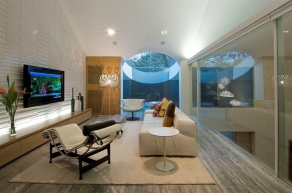 lampadaire-tripode-salle-de-séjour-futuristique-et-mobilier-luxueux