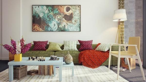 lampadaire-tripode-sofa-bas-et-coussins-colorés