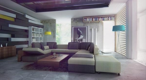 lampadaire-tripode-sofas-modulairesétagères-suspendues