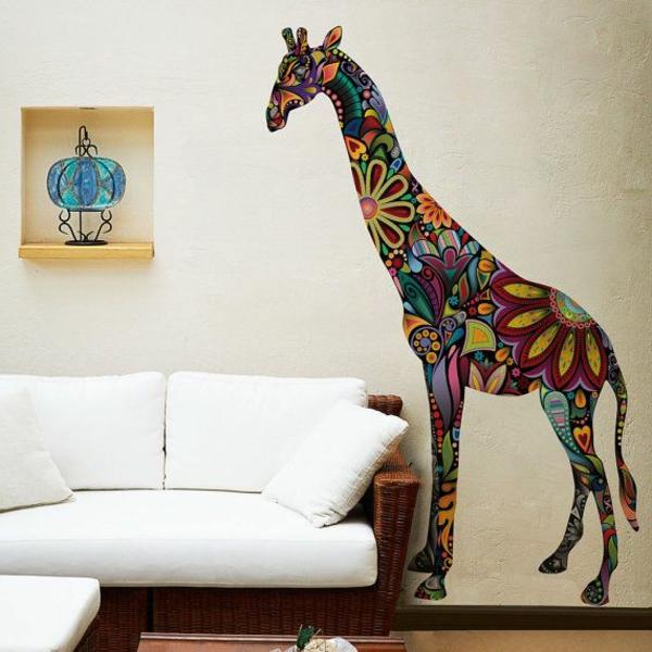 le-girafe-coloré-sur-le-mur