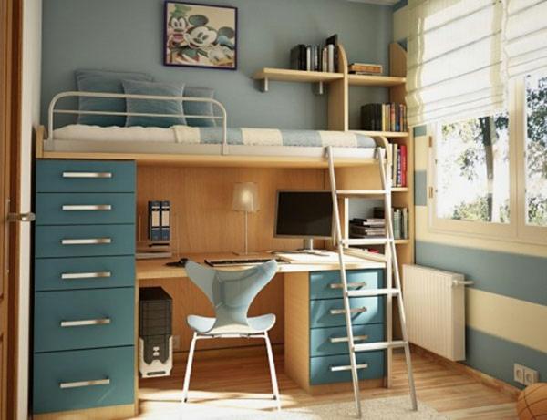 lit-bureau-étagère-escalier-Amenagement-petit-espace-chambre-enfant-design