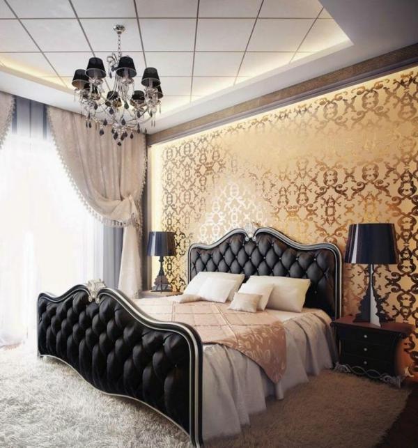 lit-chambre-à-coucher-intérieur-contemporain-lustre-baroque-séjour