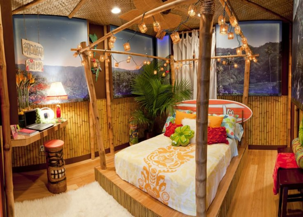 lit-en-bambou-chambre-à-coucher-à-décoration-bambou