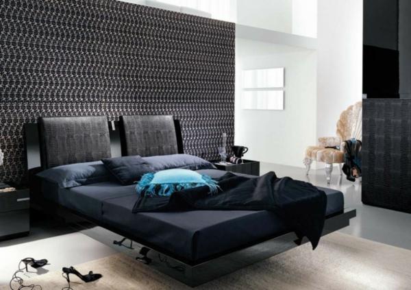 lit-suspendu-accents-noirs-et-papier-peint-géométrique