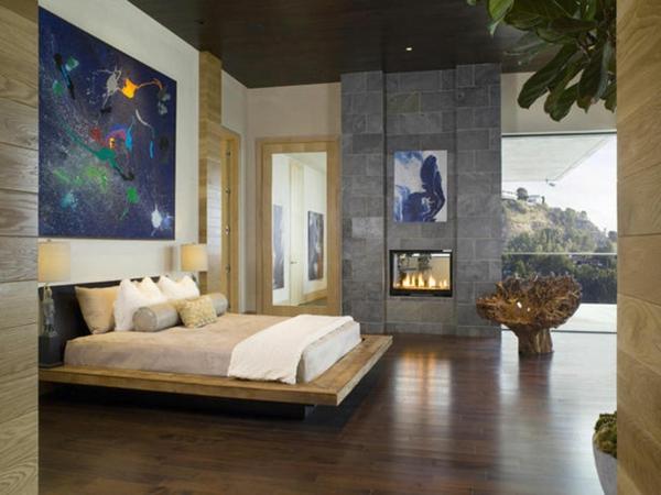 lit-suspendu-lit-flottant-cheminée-à-double-face-intérieur-contemporain