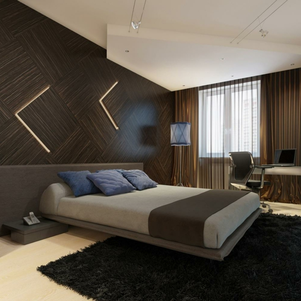 lit-suspendu-mur-stratifié-marron-un-tapis-noir