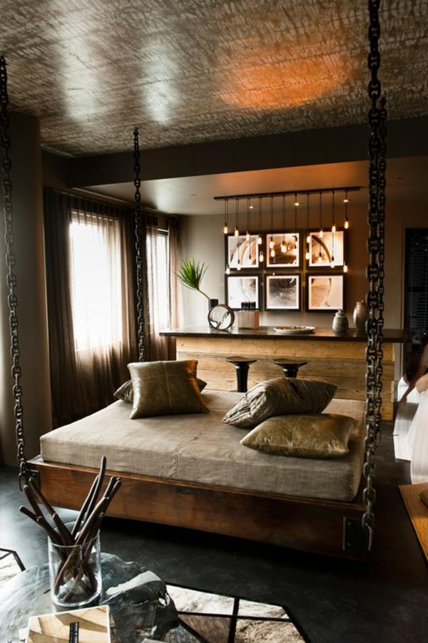 lit-suspendu-une-chambre-à-coucher-beige