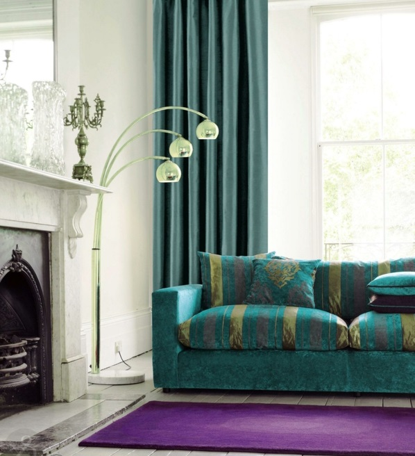 livingroom-inspiration-sweet-teal-ceiling-to-floor-curtain-window-with-three-glass-light-arc-chrome-floor-lamp-and-teal-fabric-bridgewater-sofas-in-teal-living-room-decoration-ideas-teal-living-room-resized